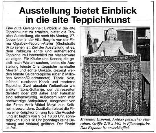 Ausstellung bietet Einblick in die alte Teppichkunst