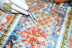 Faser für Faser entfärbt biologisch unser Spezialist jeden Fleck in einem Seidenteppich